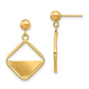14k Yellow Gold Square Dangle Post Earrings