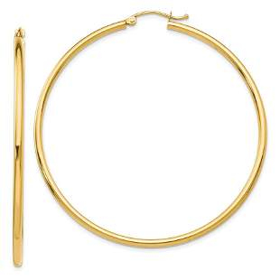 14k Solid Gold 2 mm Polished Round Hoop Earrings (55