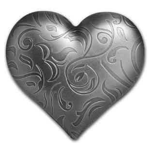 2018 Palau 1 oz Silver Antique Finish Heart Shaped Coin