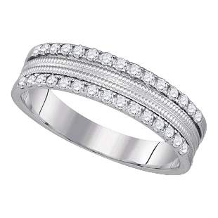 14kt White Gold Womens Round Diamond Double Row Band
