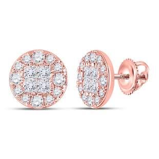 14kt Rose Gold Womens Princess Round Diamond Cluster