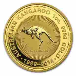 2014 Australia 1 oz Gold Kangaroo BU (25th Anniv)