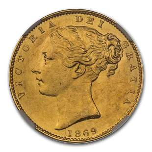 1869 Great Britain Gold Sovereign Victoria Shield MS-63