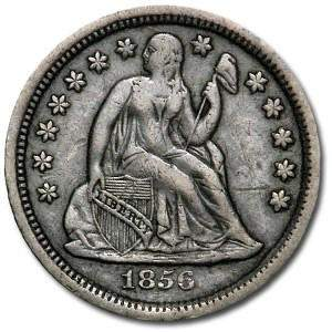 1856 Liberty Seated Dime Large Date XF