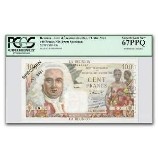 (1960) France Reunion Island 100 Francs CU-67 PPQ PCGS
