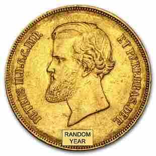 1851-1889 Brazil Gold 20,000 Reis Pedro II Avg Circ