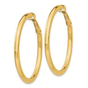 14k 3x35 mm Polished Round Hoop Earrings
