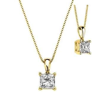 Natural 0.72 CTW Princess Cut Diamond Solitaire Pendant
