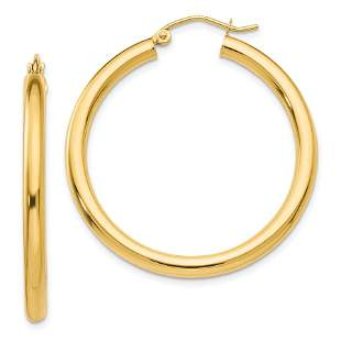 14k Gold Polished 3 mm Round Hoop Earrings