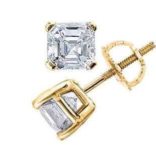 Natural 2.02 CTW Asscher Cut Diamond Stud Earrings 14KT