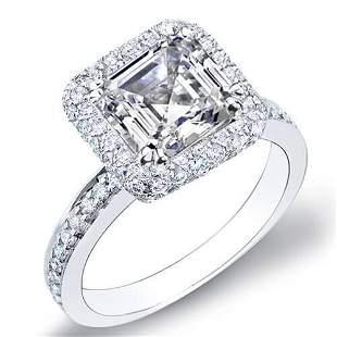 Natural 2.11 CTW Asscher Cut Halo Micro Pave Diamond