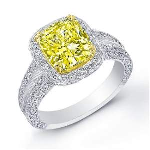 Natural 3.37 CTW Canary Yellow Diamond Pave Halo