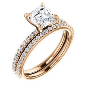 Natural 1.92 CTW Square Asscher Cut Diamond Engagement