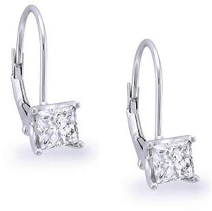 Natural 1.02 CTW Lever Back Princess Cut Diamond