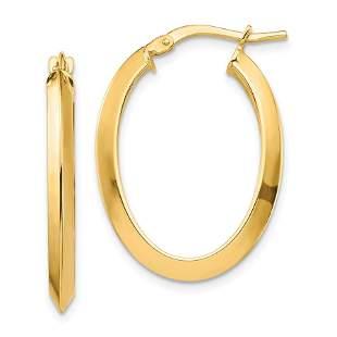 14k Yellow Gold Polished Oval Hoop Earrings - 2.5 mm