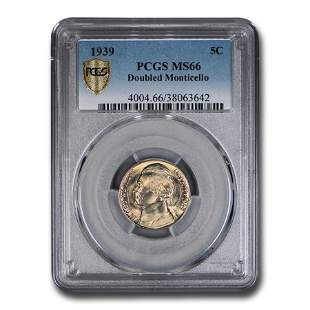 1939 Jefferson Nickel MS-66 PCGS (Doubled Monticello)