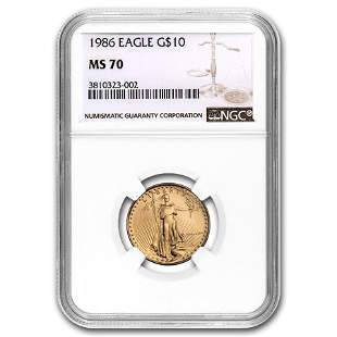 1986 1/4 oz Gold American Eagle MS-70 NGC (Registry
