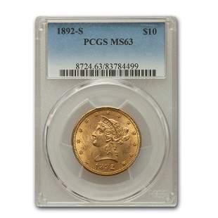 1892-S $10 Liberty Gold Eagle MS-63 PCGS