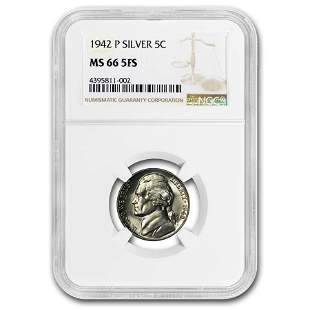 1942-P Silver Jefferson Nickel Type-2 MS-66 NGC (Full