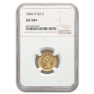 1846-O $2.50 Liberty Gold Quarter Eagle AU-58+ NGC