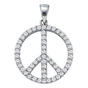 14kt White Gold Womens Round Diamond Peace Sign Circle