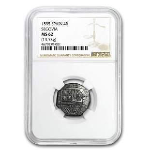 1595 Spain (Segovia) Silver 4 Reales Cob Phillip II