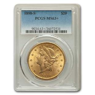 1898-S $20 Liberty Gold Double Eagle MS-63+ PCGS