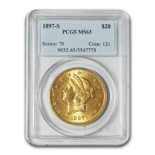 1897-S $20 Liberty Gold Double Eagle MS-63 PCGS