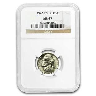 1942-P Silver Jefferson Nickel Type-II MS-67 NGC