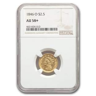 1846-O $2.50 Liberty Gold Quarter Eagle AU-58+ NGC