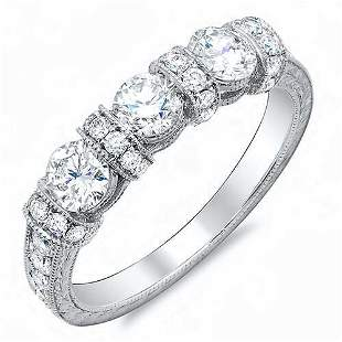 Natural 1.02 CTW Art Deco Round Cut Diamond Wedding
