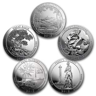 2013 5-Coin 5 oz Silver ATB Set (America the Beautiful)