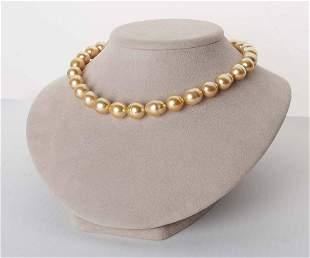 "18K Deep Golden South Sea Baroque Pearl Necklace, 18"","