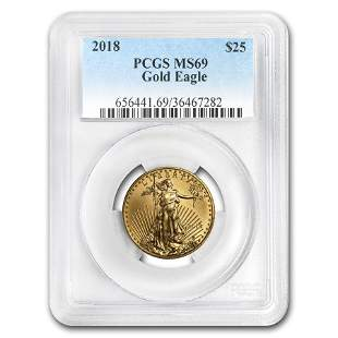2018 1/2 oz Gold American Eagle MS-69 PCGS