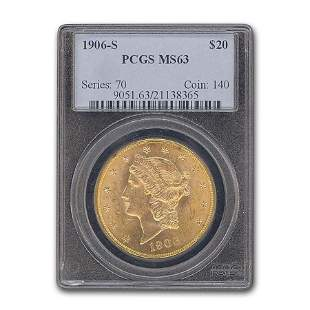1906-S $20 Liberty Gold Double Eagle MS-63 PCGS