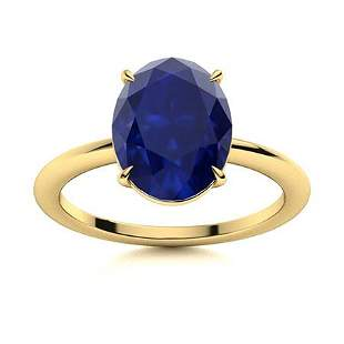 Natural 3.06 CTW Sapphire Solitaire Ring 14K Yellow