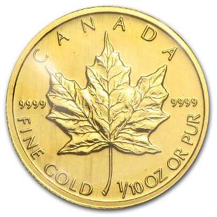 1992 Canada 1/10 oz Gold Maple Leaf BU