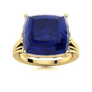 Natural 5.51 CTW Sapphire Solitaire Ring 14K Yellow