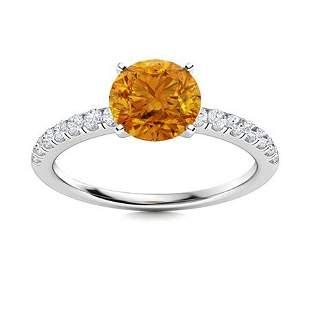 Natural 1.31 CTW Citrine & Diamond Engagement Ring 18K