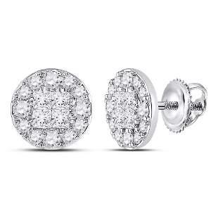 14kt White Gold Womens Princess Round Diamond Cluster