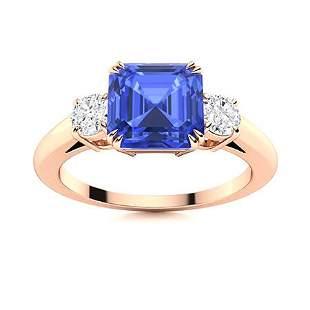 Natural 1.78 CTW Ceylon Sapphire & Diamond Engagement