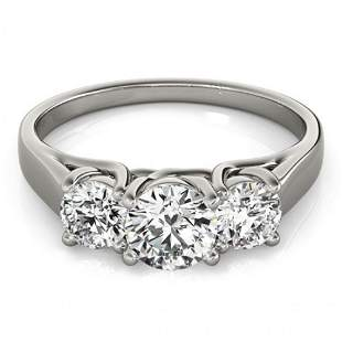 Natural 1.3 ctw Diamond 3 Stone Ring 14k White Gold