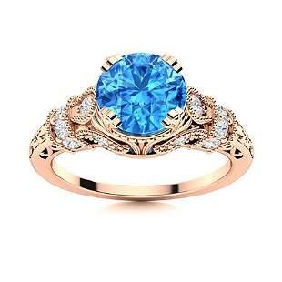 Natural 1.56 CTW Topaz & Diamond Engagement Ring 18K