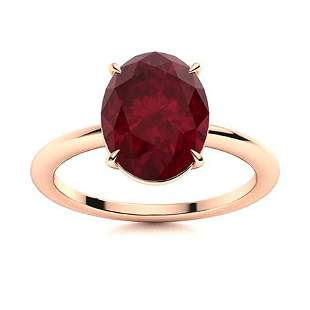 Natural 2.79 CTW Ruby Solitaire Ring 18K Rose Gold