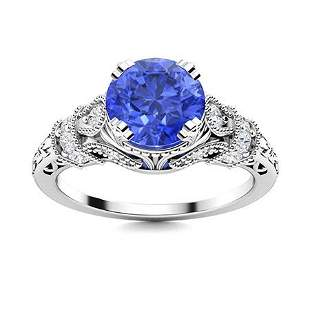 Natural 1.95 CTW Ceylon Sapphire & Diamond Engagement