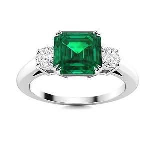 Natural 1.73 CTW Emerald & Diamond Engagement Ring 14K