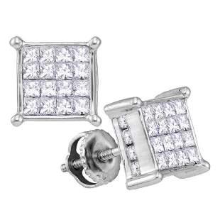 14kt White Gold Womens Princess Diamond Square Cluster