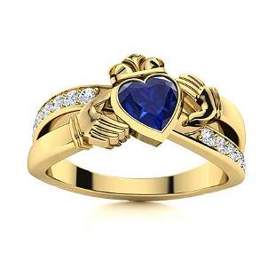 Natural 1.27 CTW Sapphire & Diamond Engagement Ring 18K