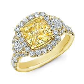 Natural 3.62 CTW Canary Yellow Halo Cushion Cut Diamond