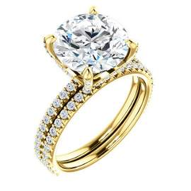 Natural 6.02 CTW Hidden Halo Round Cut Diamond Ring